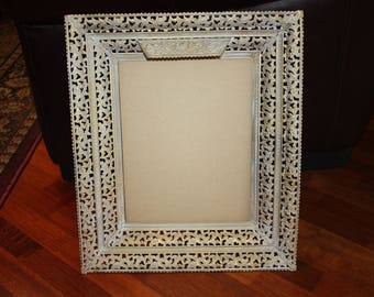 "Vintage White-Washed Gold Lighted Metal Picture Frame/Shabby Mid Century 10.5"" x 13.5""/Shabby Floral Embossed Metal Frame/Hang or Stand"
