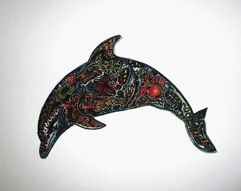 Dolphin Applique Iron On Patch 6""