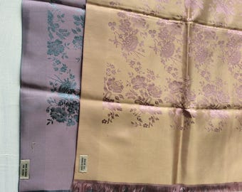 Pair of Vintage Designer Silk Scarves Echo Silk Embroidered 2