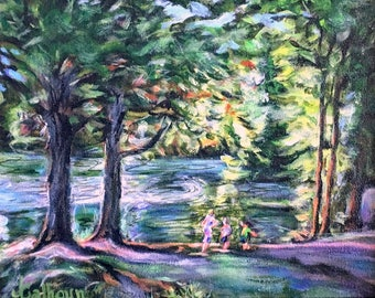 """Fine Art Acrylic 8 X 10 Original Landscape Painting """"The Outing"""""""