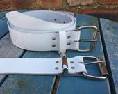 """White Leather Belt 1 1/2"""" Wide (38mm) with Choice of Buckle, Keeper Loop & Size Handmade Real Leather"""