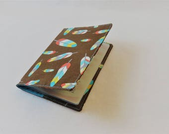 Passport Cover in Feathers on Brown