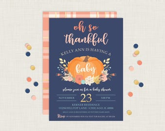 Fall Baby Shower Invitation | Thanksgiving Baby Shower Invitation | Thankful Baby Shower Invitation | Pumpkin Baby Shower Invitation | Fall