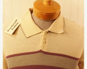 50% Off Sale NOS Vintage 70s Brian MacNeil Men's Purple Grey Ivory Cotton Knit Hipster Shirt SZ M