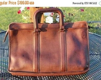 On Sale 50% OFF Vintage Brown Baseball Glove Leather Coach Briefcase Leather Laptop Bag