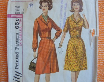 vintage 1960s Simplicity sewing pattern 6194 misses one piece dress size 18