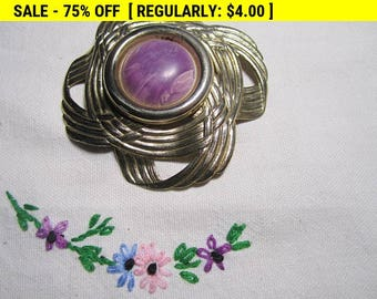 vintage silvertone purple brooch, has wear, for craft