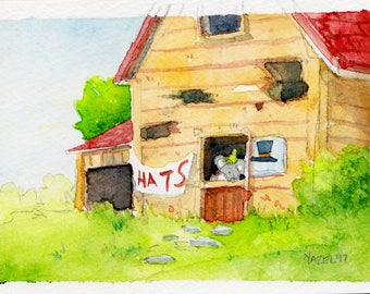 The Hat Mouse- Print of my original watercolor illustration Stardew Valley Farm Nintendo Cute Game Video Game Gamer