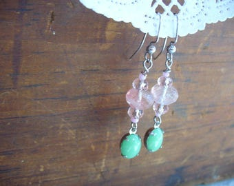 Pink Tourmaline and Green Jade Vintage Drop Dangle Earrings, Watermelon Pink Gemstone Earring, Silver Jewelry, Womens Jewelry