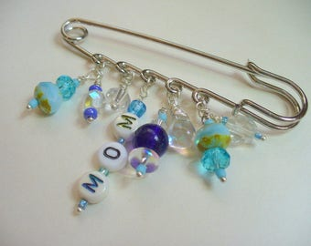 Silver Kilt Pin, Mom Silver Brooch Kilt Pin, Blue Glass Beads, Boy, Mom To Be, Mother's Day, Pin, Silver Jewelry, Safety Pin, Scarf Pin