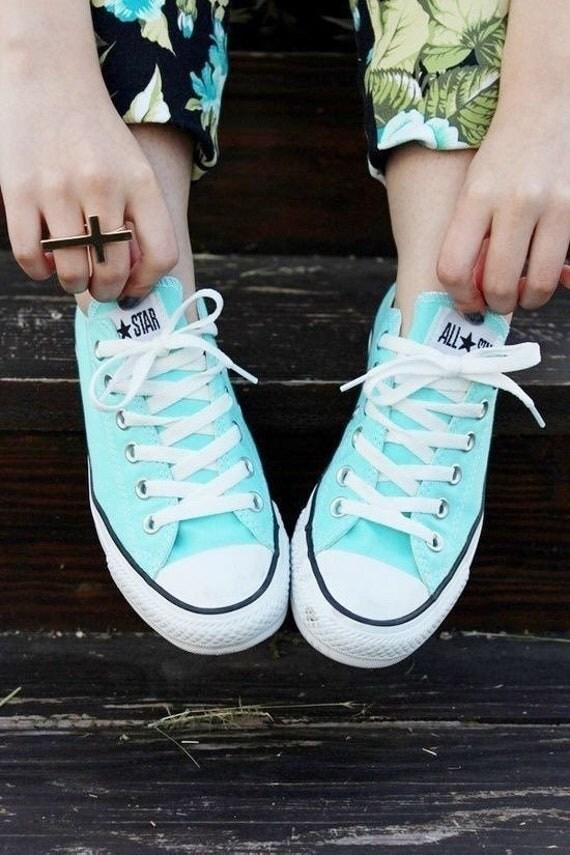 Aqua Converse Low Top Ladies Aquamarine Turquoise Bling Custom w/ Swarovski Crystal Rhinestone Jewels Chuck Taylor All Star Sneakers Shoes