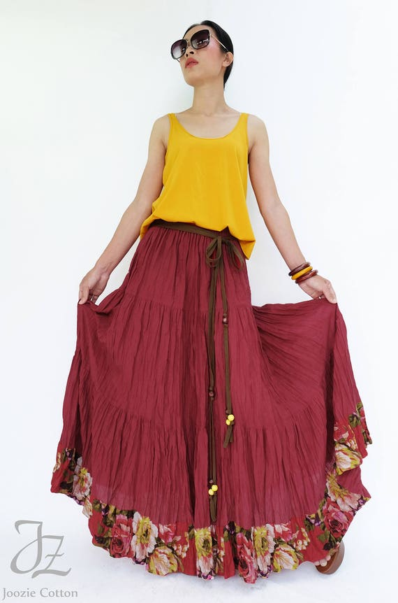NO.25 Red Cotton Gauze, Hippie Gypsy Boho Tiered Long Peasant Skirt, Maxi Skirt