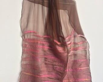 nuno scarf seda y lana marron y rosa