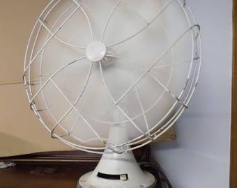 """Vintage Electric 18"""" White Electric Fan, Heavy Duty Cast Iron Fan, Office Decor, Three Speed Oscillating Fan"""