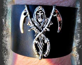 Grim Reaper Leather Cuff, Black Leather Cuff, Leather Bracelet ,Gothic Cuff, Wide Cuff