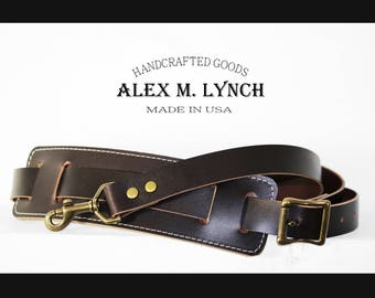 Adjustable  Leather shoulder strap with leather pad - SOLID BRASS