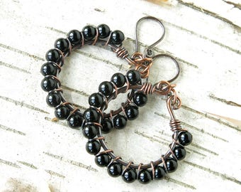 Beaded hoop earrings - black onyx gemstone beads copper wire wrapped