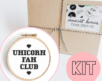 Unicorn Fan Club Modern Cross Stitch Kit - easy chart design guide & supplies - embroidery kit bad taste popculture
