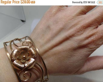 ON SALE KREMENTZ Signed Vintage Scroll Cuff Bracelet