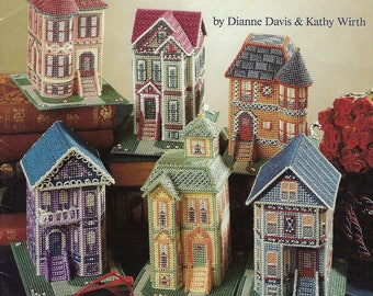 Painted Ladies Victorian Houses Plastic Canvas Pattern Book, Town House, Queen Anne Town House, Home Decor, American School of Needlework