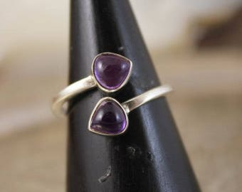 Ring style wedding ring duo tips of amethysts
