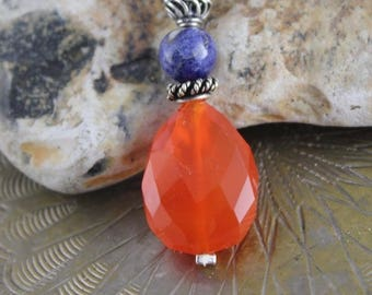 Pendant drop faceted carnelian, sodalite and Sterling Silver 925