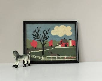 Framed Farmhouse Needlepoint, Vintage Needlepoint Picture, Country Scene Embroidery, Barn Horse Fiber Art
