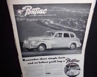 Vintage  Car Advertisment.  Pontiac  Advertisment. Life Magazine Advertisment.  1940s Car Add.  Retro Ads .  Vintage Magazine Ads. Home Deco