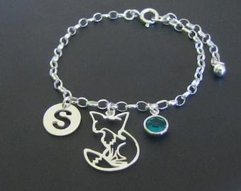 Personalized Fox Bracelet, Birthstone Bracelet, Initial Bracelet, Sterling Silver Bracelet, Gift for Her