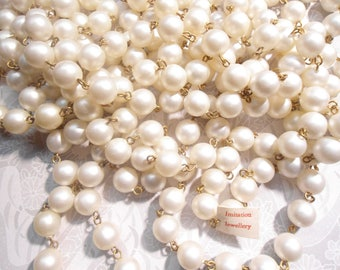 100 Ft. of Imitation Pearl Chainlinked White Fresh Water