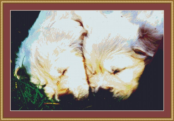 Golden Retriever Puppies Asleep Cross Stitch Pattern /Digital PDF Files /Instant downloadable