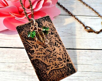 Leaf Copper Necklace, Nature Inspired Leaf Necklace, Etched Copper Jewelry, Leaf Jewelry, Etched Leaf, Autumn, Leaves, Boho Chic, For Women