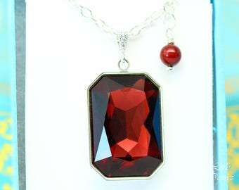Marsala Necklace Burgundy Necklace Dark Red Necklace Swarovski Crystal Large Brown Red Pendant Wine Red Emerald Cut Layering Necklace BU41