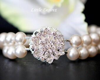 Multistrand Pearl Bracelet, Rhinestone Pearl Bridal Bracelet, Pearl Cuff Bracelet, Pearl Jewelry, Special Occasion Jewelry, AVA