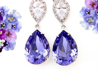 Purple Swarovski Earrings Lilac Earrings Purple Bridal Earrings Swarovski Tanzanite Bridesmaid Earrings Plum Jewelry Wedding Jewelry TZ31P
