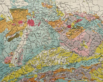 1897 Antique geological map of GERMANY. Geology. 120 years old chart
