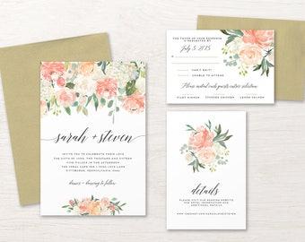 Floral Wedding Invitation, Wedding Invitation Set, Wedding Invitation Suite, Wedding Invitation Printable, Pink, White, Ivory, Green, Peach
