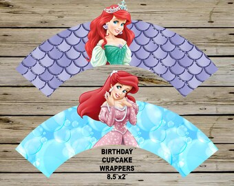 4 Princess ARIEL of Little Mermaid Cupcake Wrappers, Instant Download, Ariel Cupcake Wrapper PRINTABLE,Party Printable, Ariel BIRTHDAY Party