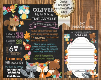 First BIRTHDAY Woodland TIME CAPSULE Board and Message Card, Woodland Time Capsule Chalkboard & 5x7 Note Card, Fox Bear Squirrel Raccoon Owl