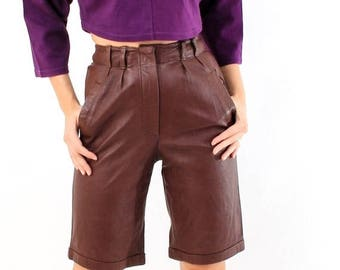 SALE Vintage Brown Leather High Waisted Shorts Size 38