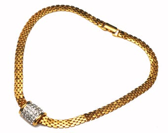 Napier Rhinestone Necklace  - Pave slider _ gold mesh chain - Choker collar necklace -