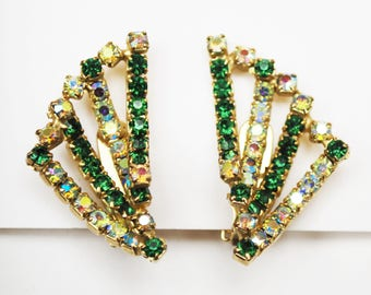 Hobe Bead  earrings  - Green Rhinestone -  AB aurora borealis  Crystal - gold plated - clip on earring