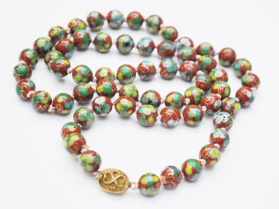 Cloisonne flower Bead Necklace - Red Brown beads  green blue gold   - Enameling -  Hand knotted beads -Asian Chinese