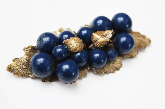 Leaf Berry Brooch - flower - Gold Brass leaves - Blue Berries Grapes Pin - Victorian Bar Brooch - Art Nouveau