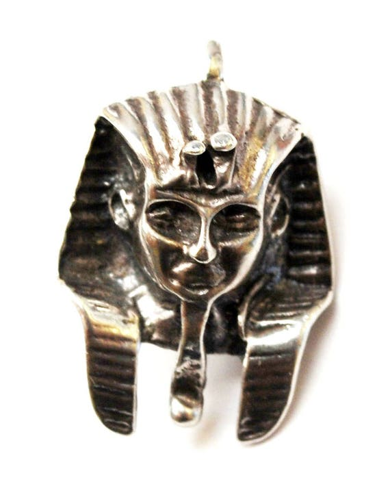 Sterling Egyptian Pharaoh Pendant  Charm - 925 silver hallow -  Mask Tribal - necklace pendant charm