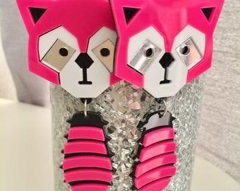 Pink Racoon Acrylic Earrings