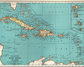 CARIBBEAN Map of the Caribbean Print 1937 Vintage Map West Indies Islands Gallery Wall Art Gift for Traveler Birthday Wedding 7170