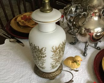 Mid Century Accurate Casting Frosted Ivory Glass Table/Nightstand Lamp/Lighting-Gold Metal Base and Filigree Floral Design