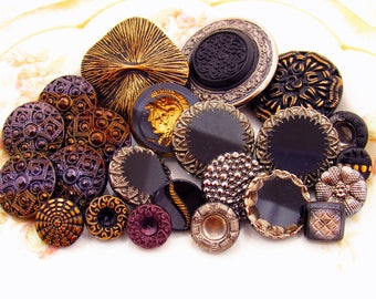 Fancy Czech Glass Button Mix Ornate Vintage Black with Silver and Gold Button Destash Assortment  - 23