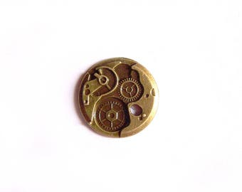 "Bronze round charm ""Mechanism shows"" 25 mm metal for jewelry making"